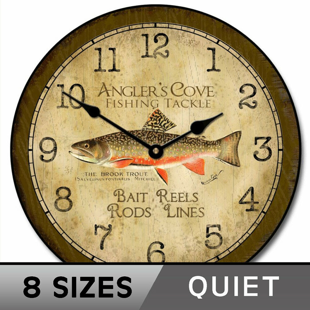 Fishing Vintage Ultra Quiet Wall Clock Non Ticking Battery