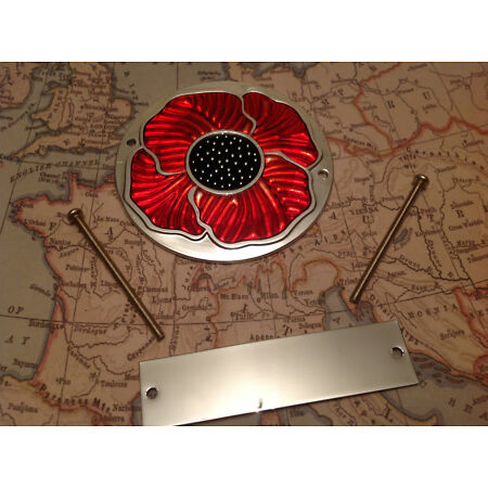 img-Red Enamelled Poppy Grille Car Badge with Fixings British Legion Anodised 2