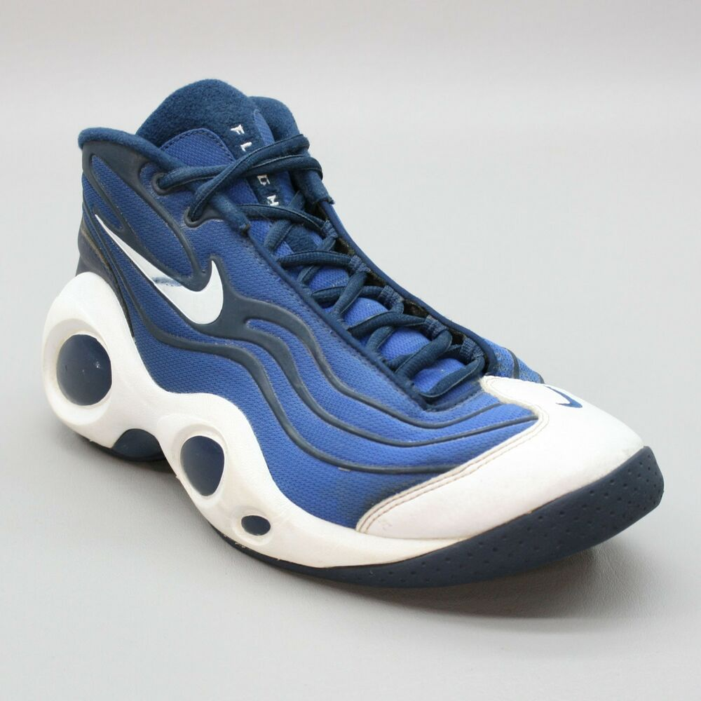 3db2113d7496 Details about Vintage NIKE Men s 11.5 (45.5) Flight Blue White High Top  Basketball Sneakers