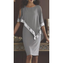 Midnight Velvet Gray Silver Formal Party Clarice Sequin Cape Dress 14 16 16W 18W