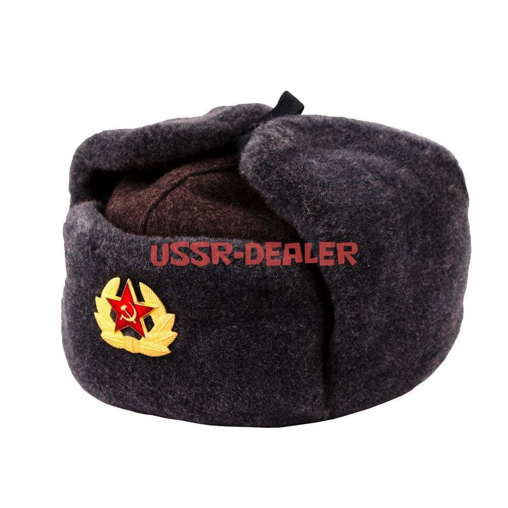 fa58190040194 Authentic Russian Army Ushanka Winter Hat with Soviet USSR Army Soldier  Insignia