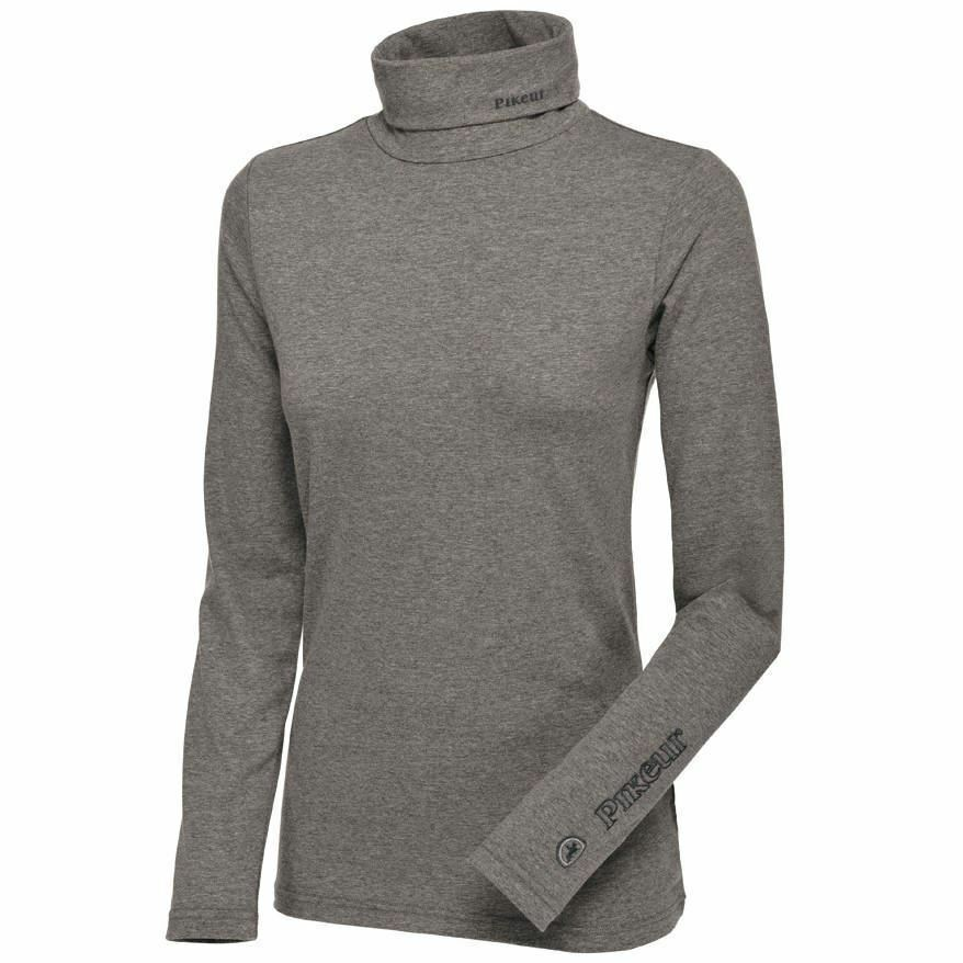 84e07c713df404 Details about Pikeur Sina Ladies Polo Neck Top grey melange long sleeve  shirt base layer