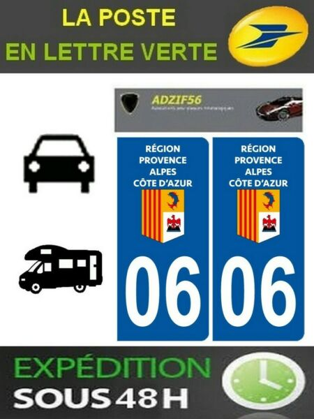 2 AUTOCOLLANT PLAQUE IMMATRICULATION STICKERS DEPARTEMENT 06 LOGO REGION PACA