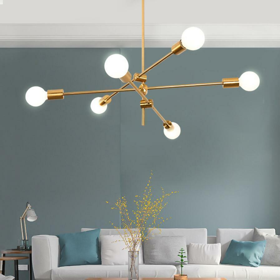 3 Arms 6-Lights Brass Sputnik Chandelier Ceiling Light