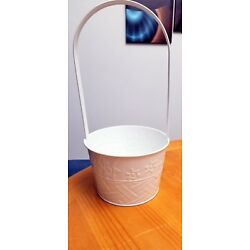 White Metal Basket - Great for a Small Easter Basket Decor or for Wedding Petals