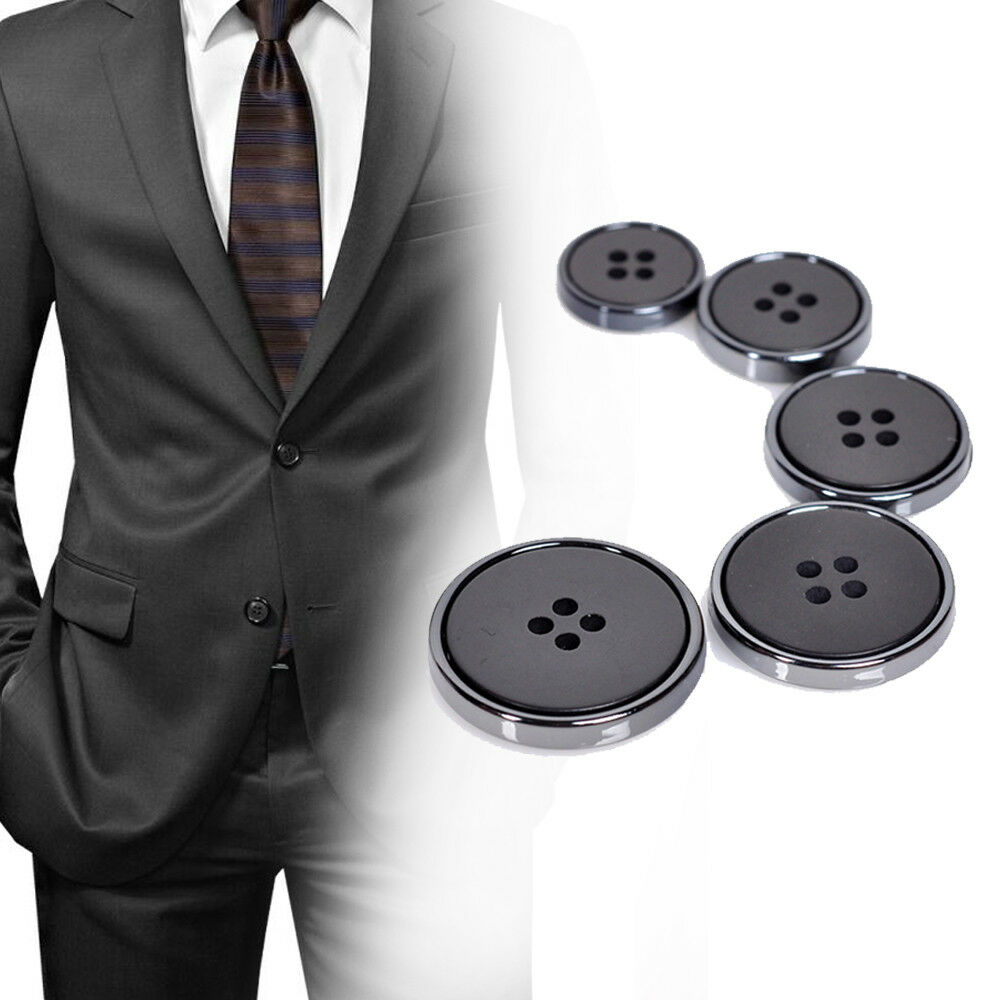 Details about 10x Black Flat 4 Hole Suits Button Coat Jacket Buttons DIY  Sewing Accessories