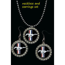 ford mustang car symbol  necklace and earrings set nice gift must have