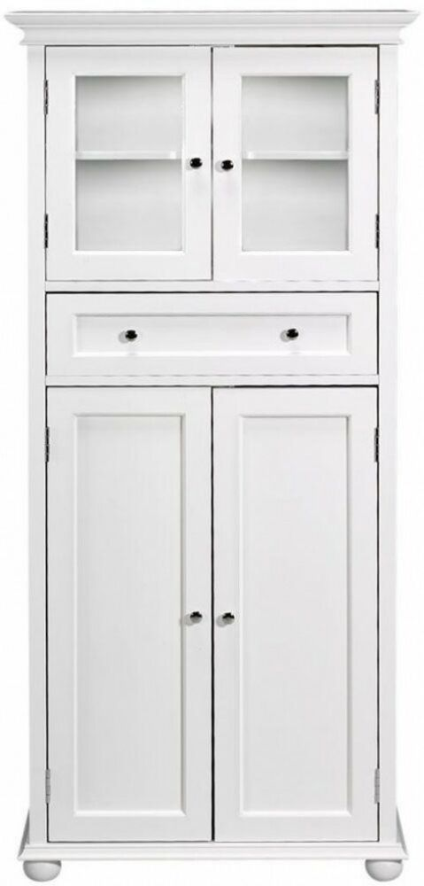 53 In Tall Bathroom Linen Cabinet 2 Cabinets 1 Drawer White Wood