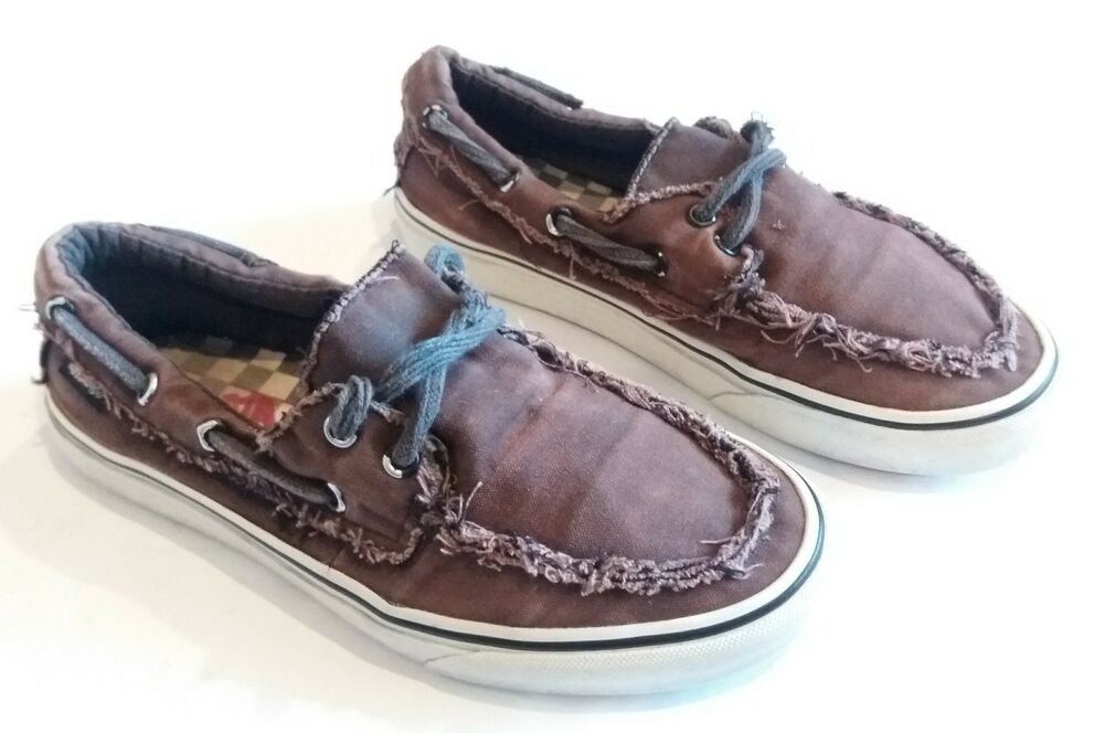 b2960d517ee3 Details about VANS Frayed Worn Chauffeur Surf Sider Boat Shoes  Brown Gumsole Mens 7 Womens 8.5