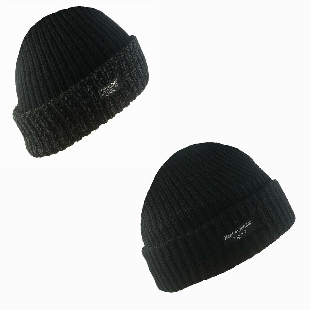 ddb019684af Details about New Mens Thermal Thinsulate Fleece Lined Beanie Ski Hat Black  40Gram 3M