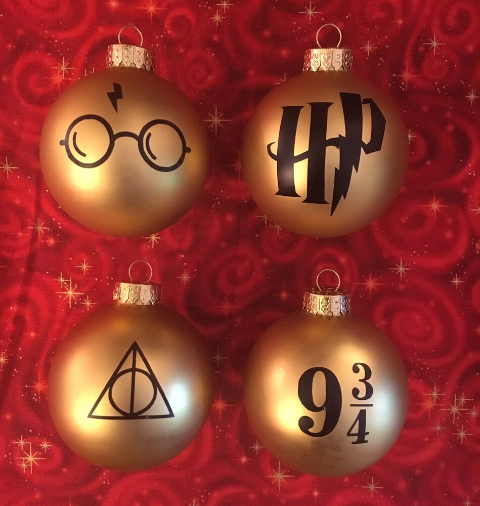 4 Harry Potter Christmas Ornaments Deathly Hallows Glasses Scar