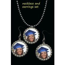 personalized picture u choos photo necklace earrings set wear to graduation gift