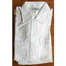 10 Vintage 1960s 1970s Men's White Short Sleeve Poly Cotton Small Shirts NOS