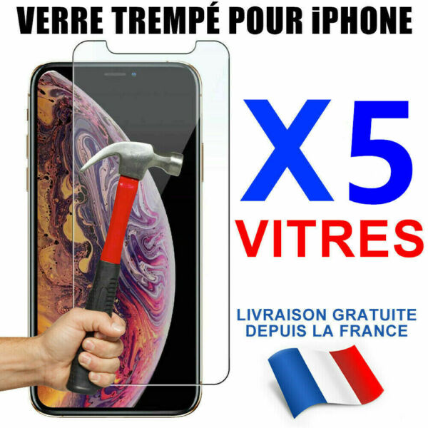 VITRE PROTECTION VERRE TREMPÉ FILM ÉCRAN iPhone XR X XS MAX 8 7 6 6S Plus LOT1-5