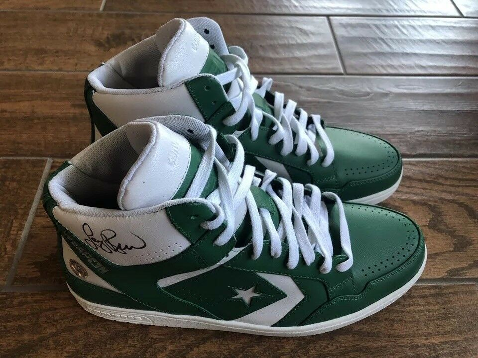 271bde02bcb8 Details about Larry Bird Signed Green white Converse Weapons Shoes  Boston  Celtics