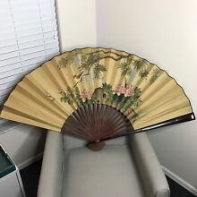 Vtg Asian Wall Fan Birds Floral Painted Paper Oriental Chinese Decor Huge 30x54