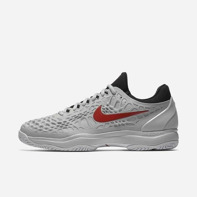 premium selection f0d3f b98a6 Details about MEN S NIKE ZOOM CAGE 3 HC TENNIS SHOES (PURE  PLATINUM HABANERO RED) 918193-016