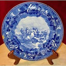 Antique 1899 Flow Blue Wedgwood Historical Plate