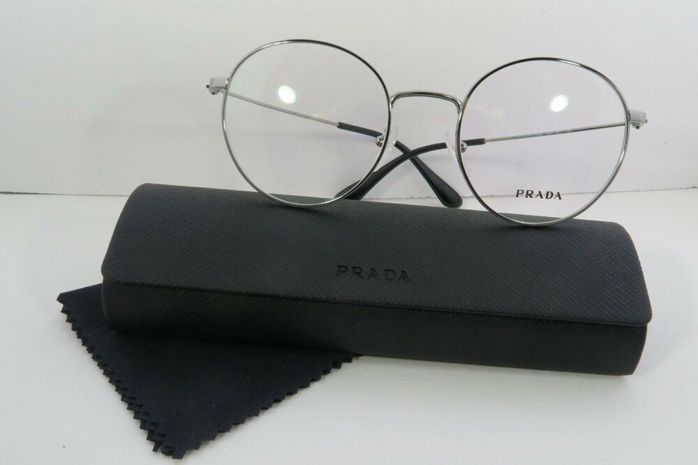 0c3a26e367a Details about Prada Women s Silver Glasses with case VPR 64T 5AV-1O1 Round  50mm