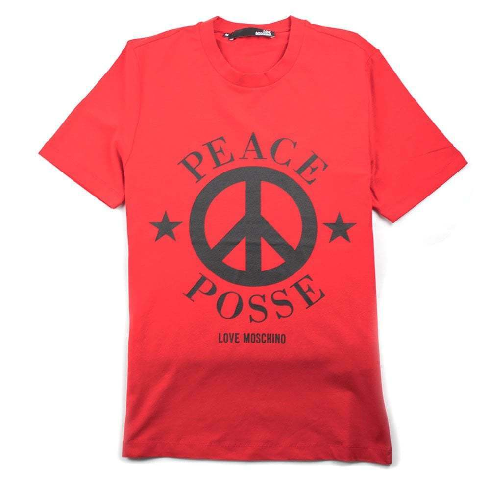 5d9fe8e4c02 Details about Love Moschino Red Peace Posse T-Shirt