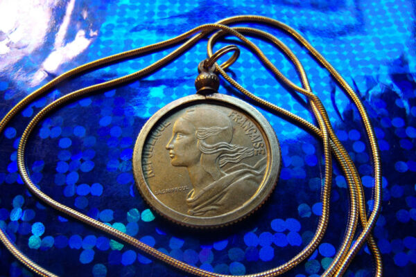 Nice, French Brass, Classic Centimes Coin Pendant on 24