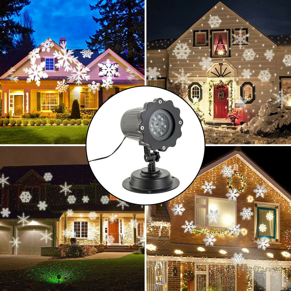 Details About Christmas Outdoor Led Moving Snowflake Laser Light Projector Lamp Party Decor Uk
