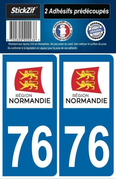 2 STICKERS DEPARTEMENT 76 LOGO PLAQUE IMMATRICULATION BLASON REGION NORMANDIE