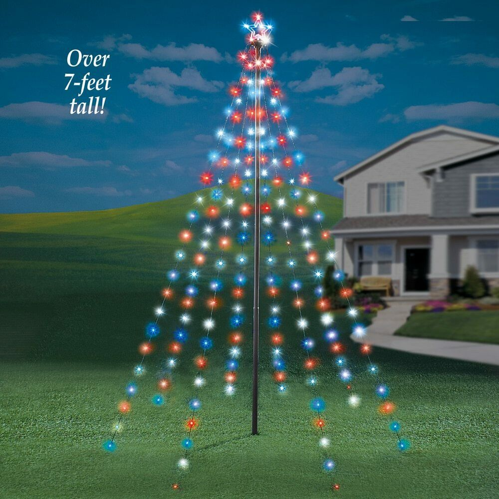 7 Ft. Tall Outdoor Garden String Light Christmas Tree with Star | eBay