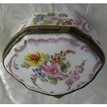 17th Century FRENCH Painted Flowered Porcelain Patch or Snuff Box, Signed