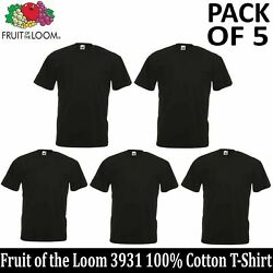 Kyпить 5 PACK OF FRUIT OF THE LOOM Plain Mens Black T Shirt S-6XL Blank T-Shirt 3931 на еВаy.соm