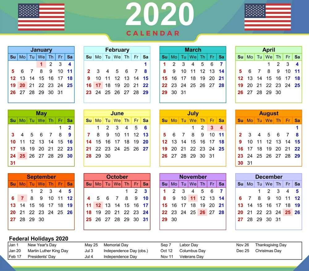Federal Holiday Calendar 2019
