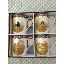 Spode Woodland set of 4 Mugs Hunting Dogs new $10 ship! 3 DAY SALE !!