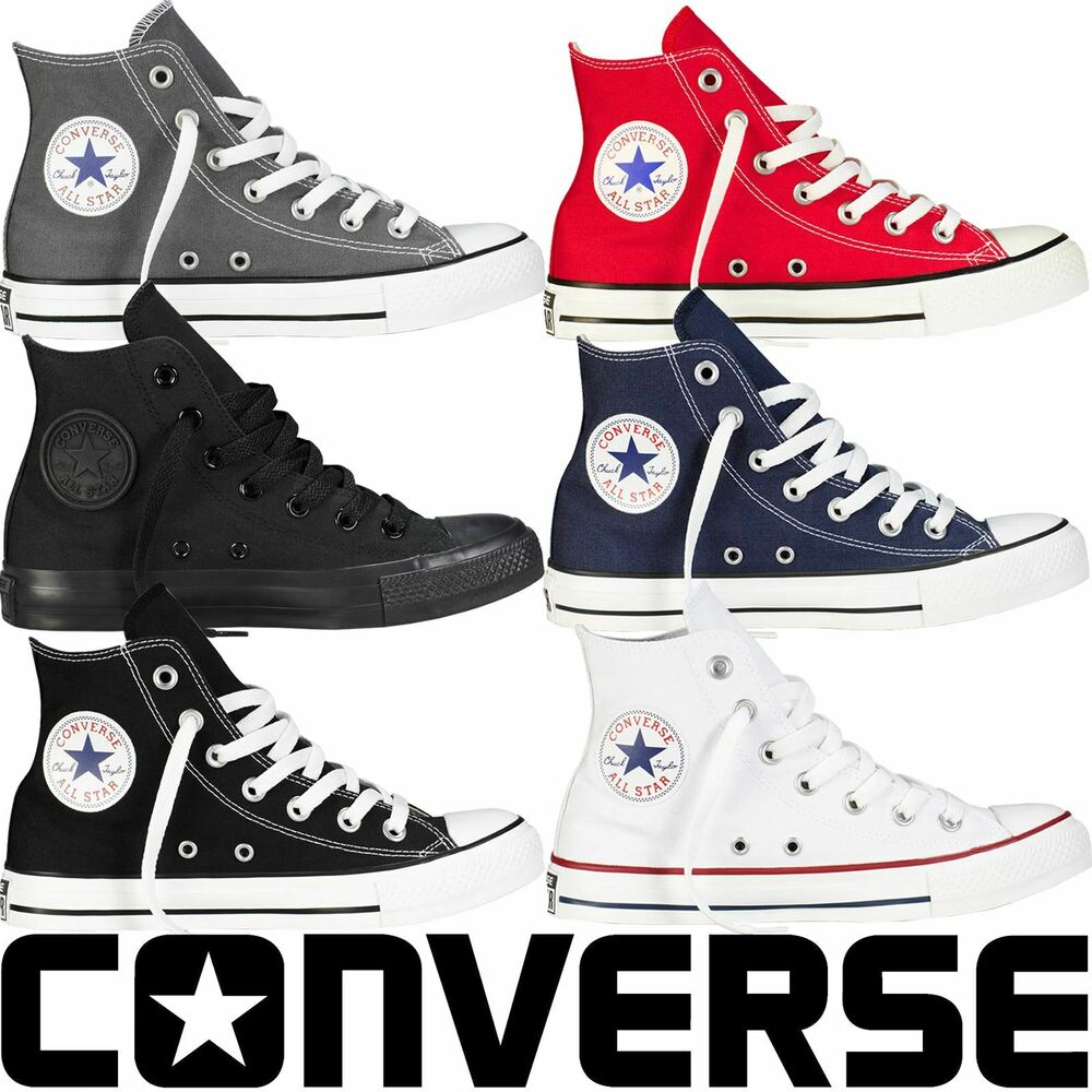 27b56890c57b21 Details about Converse All Star Mens Womens High Hi Tops Unisex Chuck  Taylor Trainers Pumps