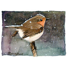 ACEO Limited Edition - A bird in snow, Robin art print of an ACEO watercolor