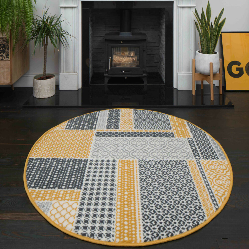 Details About Traditional Ochre Yellow Patchwork Rugs Grey Check Circle Round Dining Room Rug