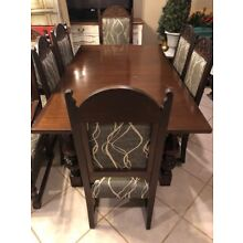 Antique English oak dining room set with EIGHT chairs