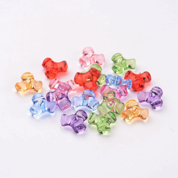 200pcs/Lot Transparent Acrylic Plastic Tri Beads for Christmas Ornaments Making