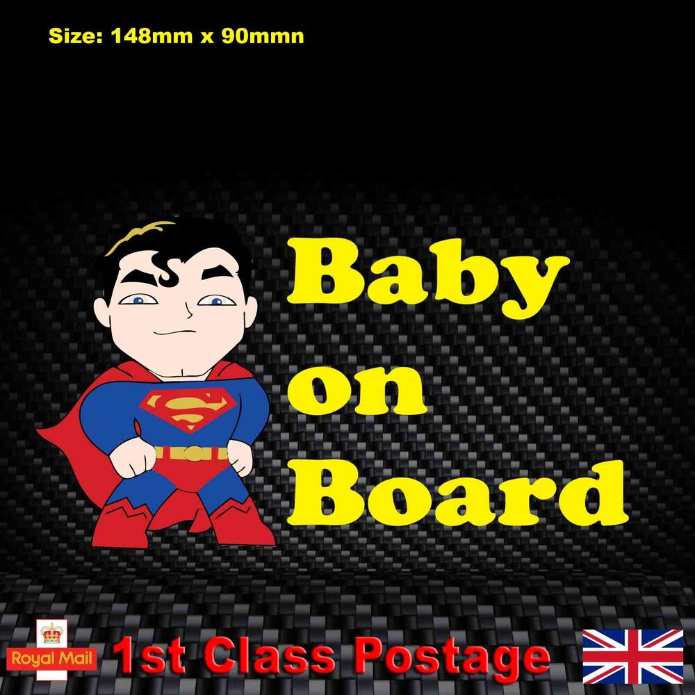 Details about baby on board car sticker superman funny children window bumper vinyl decal ab1