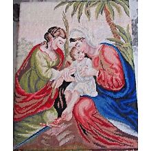 Antique Tapestry Needlepoint French Wool Religious Mary Jesus Biblical Scene