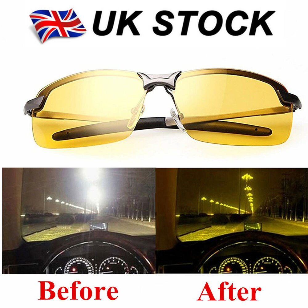 57d62c2e7c75 Details about Night Driving Glasses HD Anti Glare Vision Polarized Yellow  Lens Tinted Unisex