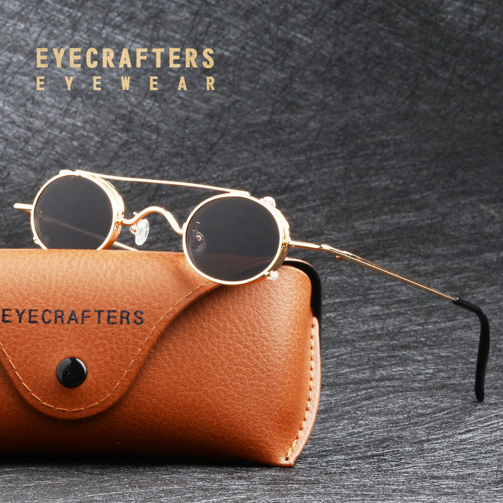 9c416978f1 Details about Fashion Retro Vintage Small Gold Metal Oval Round Sunglasses  Steampunk Glasses