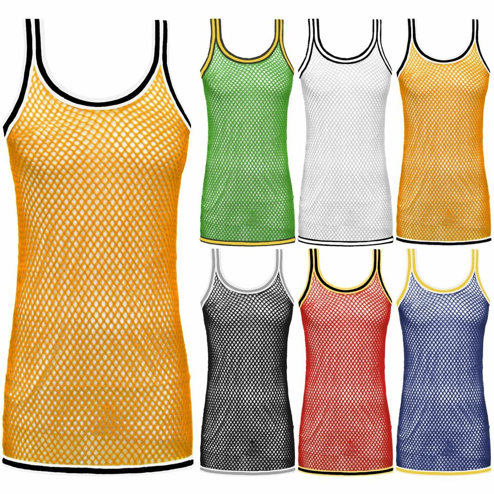 47030f637cc28 Details about MENS STRING MESH VEST FITTED TRIM GYM TRAINING T SHIRT  FISHNET PIPING TANK TOP