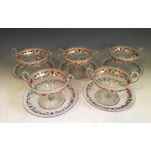 Set of 5 Antique Italian Enameled Glass Bowls with Under Plates