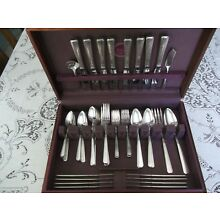 1881 Rogers Oneida ART DECO  Silver Plate 64 Pc. Svc. for 8