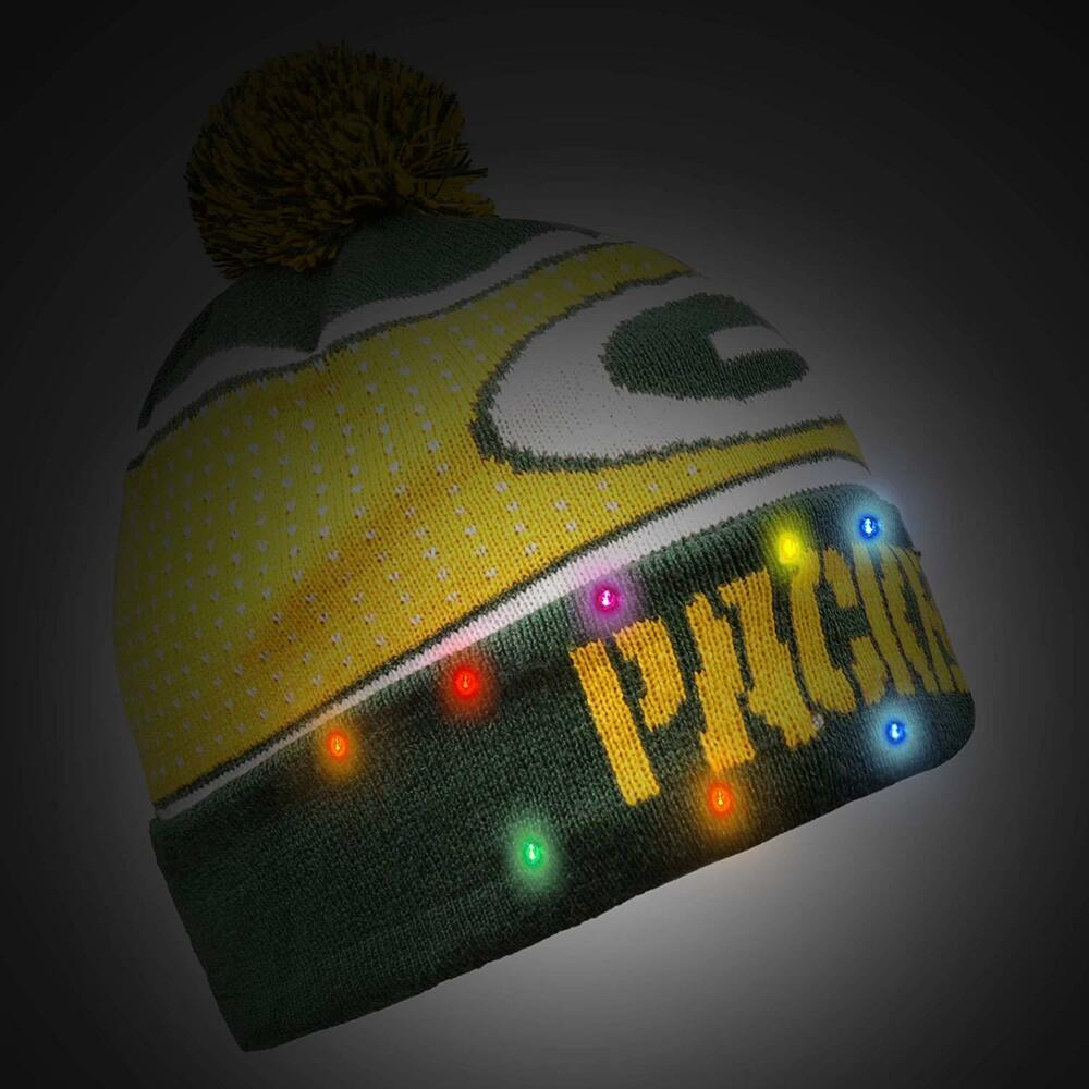 a84a0a79e532e0 Details about Green Bay Packers BIG LOGO Light Up Beanie New 2018 Style NFL  Winter Cap Hat