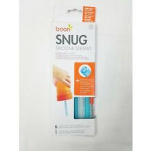 Boon Snug Silicone Straws 6 Straws 1 Cleaning Brush New