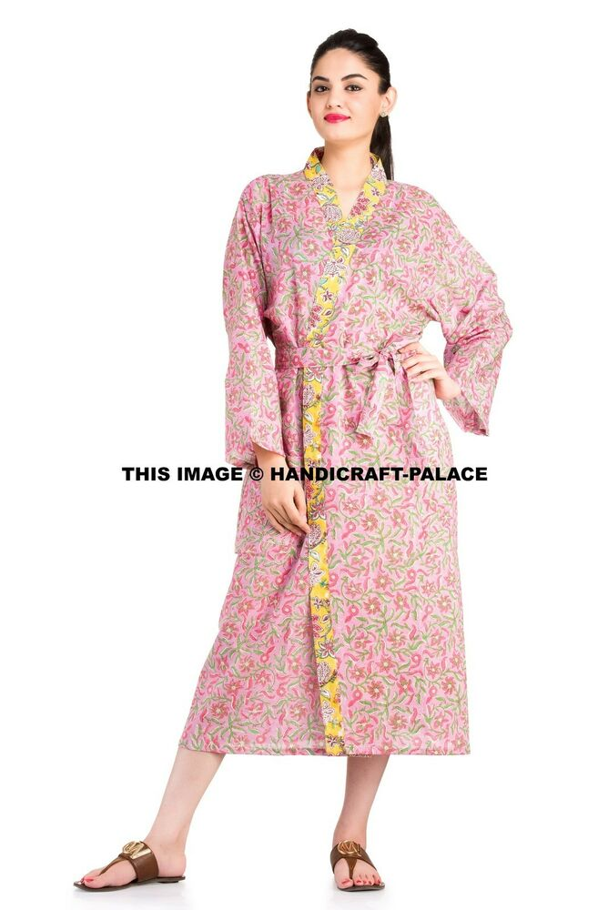 Details about Indian Floral Printed Cotton Kimono Long Pink Bath Robe Women  Casual Night Gown ad26fddb4