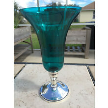GORHAM STERLING WEIGHTED BASE TURQUOISE BLUE GLASS 9 1/2