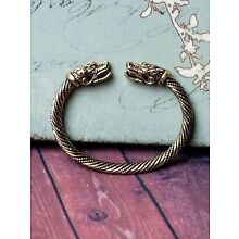 Snake Sacred Arm Ring Viking Norse Iron Metal Adjustable Gold Cuff Bracelet!