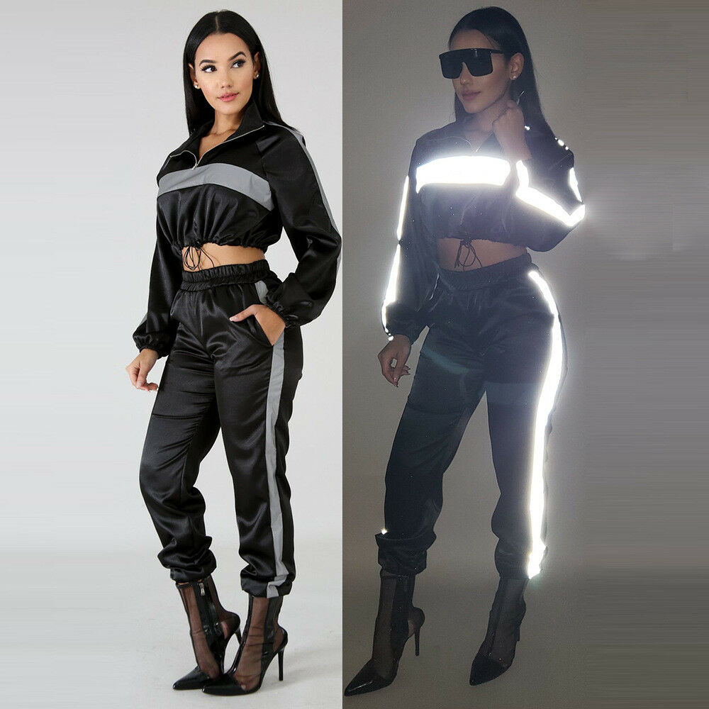 1db2906bc8f Details about Fashion Women Reflective Cloth Splice Short Tops Club Casual  Pant Tracksuit 2pcs